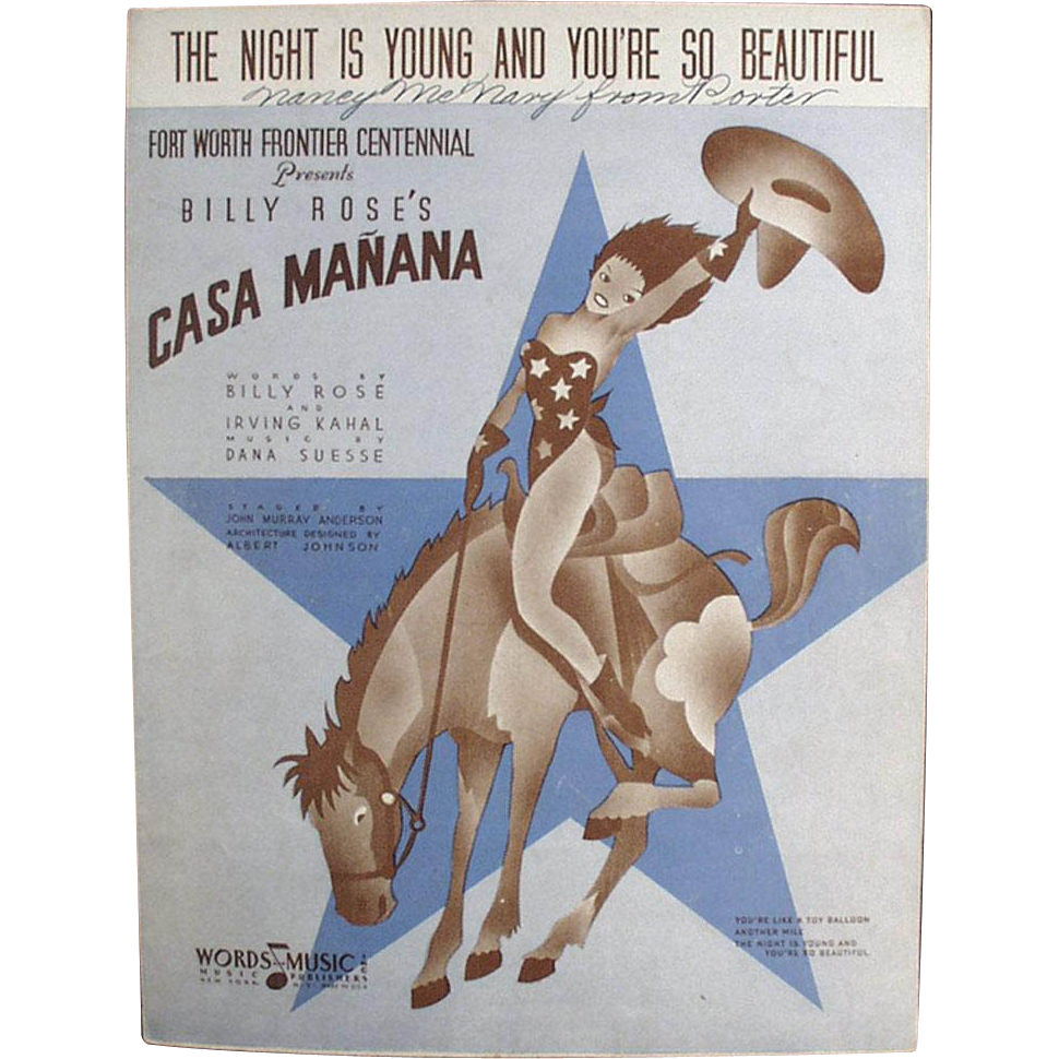 Vintage Sheet Music - The Night is Young & You're So Beautiful