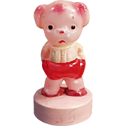 Old, Celluloid Tape Measure - Pouting Pink Puppy - Very Cute