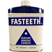 "Vintage, Denture Adhesive Powder, Tin - ""Fasteeth"""