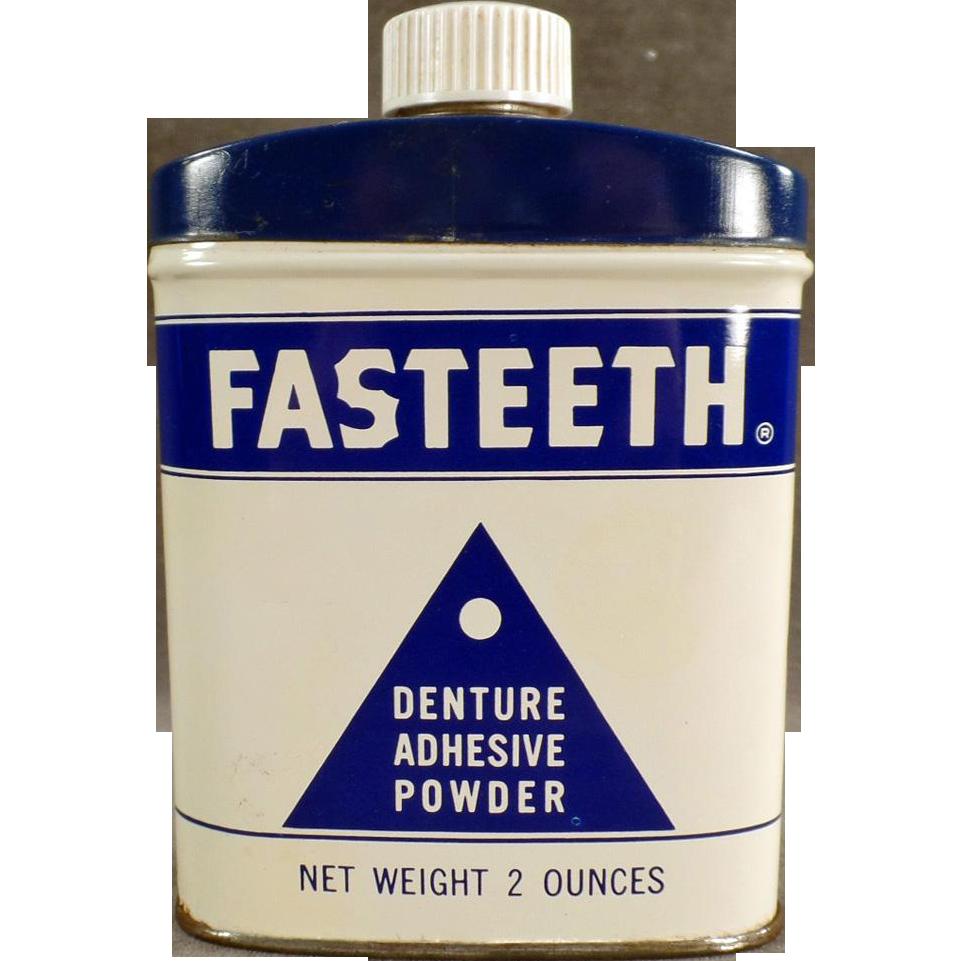 """Vintage, Denture Adhesive Powder, Tin - """"Fasteeth"""""""
