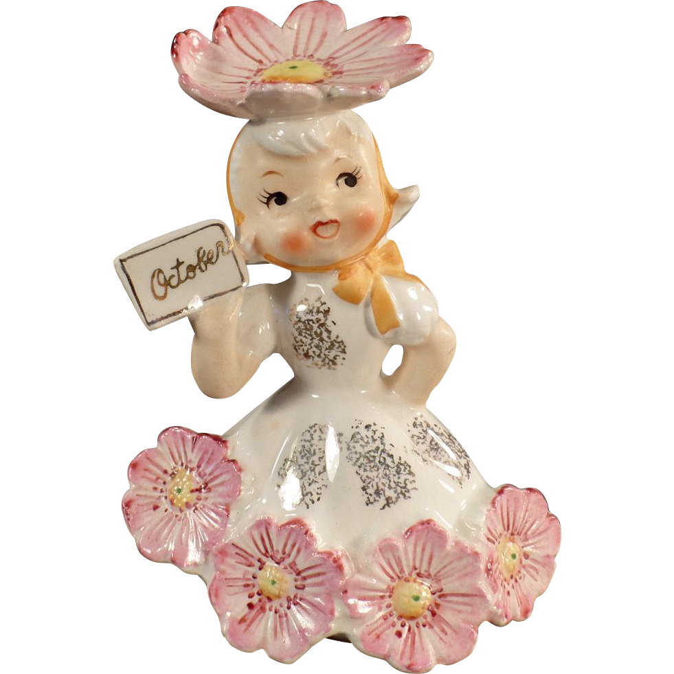 Vintage, Flower Girl Porcelain for the Month of October