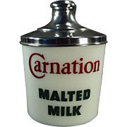 Vintage, Milk Glass Malt Canister -  Carnation Advertising