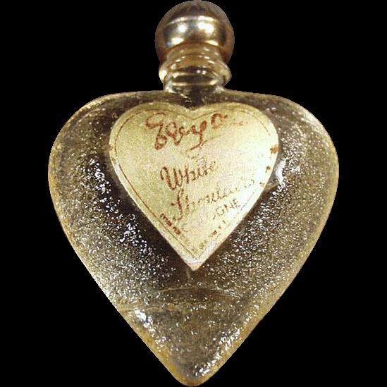Vintage Perfume Bottle - White Shoulders Sample, Heart Shaped Bottle with Original Label