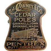 Vintage, Advertising, Paper Clip - Carney & Co. Cedar Poles