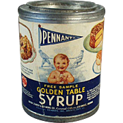 Vintage Sample Tin - Pennant Golden Table Syrup  - 1937