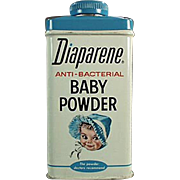 Vintage, Diaparene Baby Powder, Talc Tin