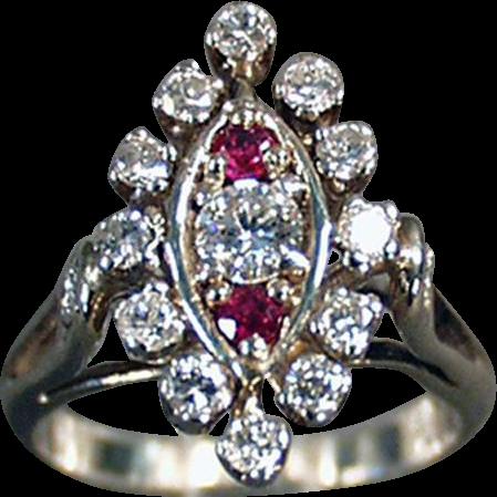 Ladies, Vintage, Diamond & Ruby Cocktail Ring - 14K White Gold