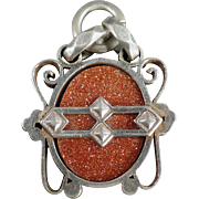 Vintage Watch Fob - Goldstone in Silver Colored Mount