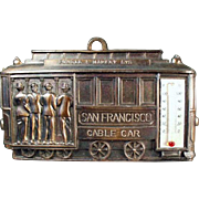Vintage, San Francisco Souvenir - Cable Car Thermometer Plaque