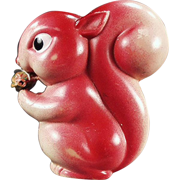 Vintage, Figural Celluloid Tape Measure - Squirrel with Nut