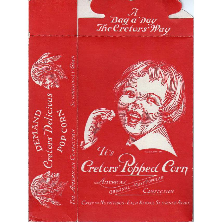 Vintage Popcorn Box - Cretor's with Happy Child's Face