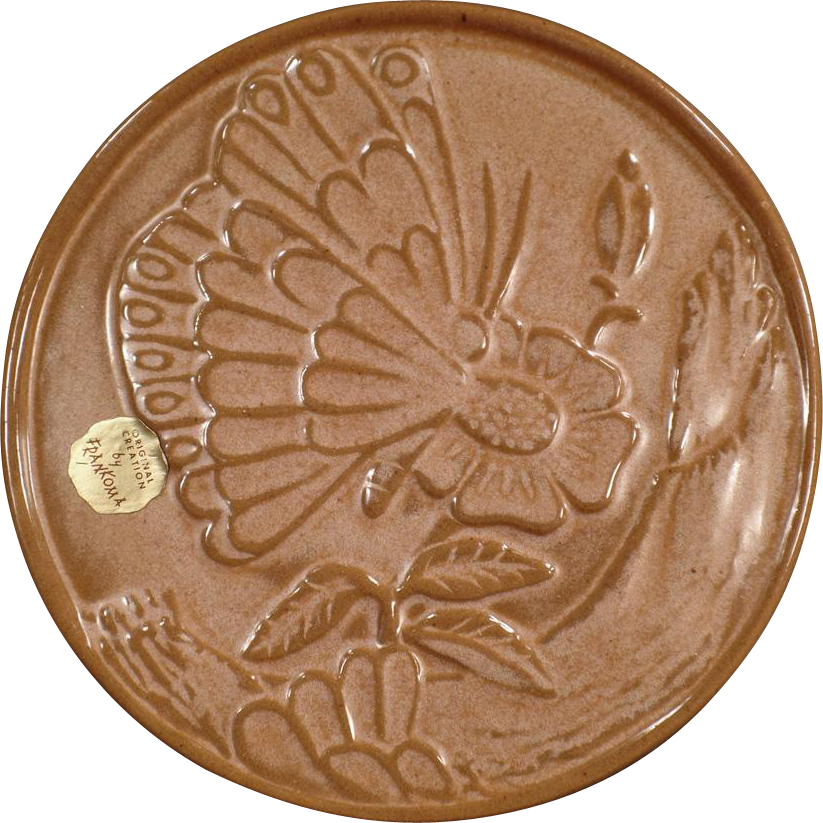 Vintage, Frankoma, Hot Plate Trivet - Butterfly and Flower with Original Label