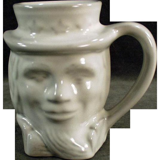 Vintage Frankoma -  Uncle Sam Mug in White Glaze