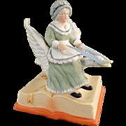 Vintage Music Box, Porcelain Figurine of Mother Goose