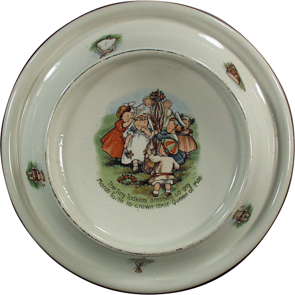 Vintage Baby Plate - Tiny Todkins, May Day Celebration