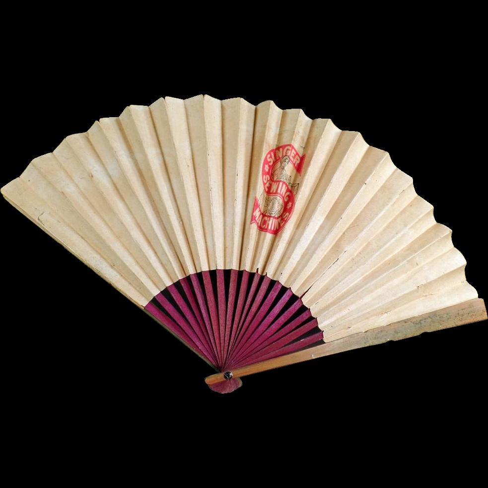 Vintage, Singer Sewing Machine Company, Folding Paper Fan