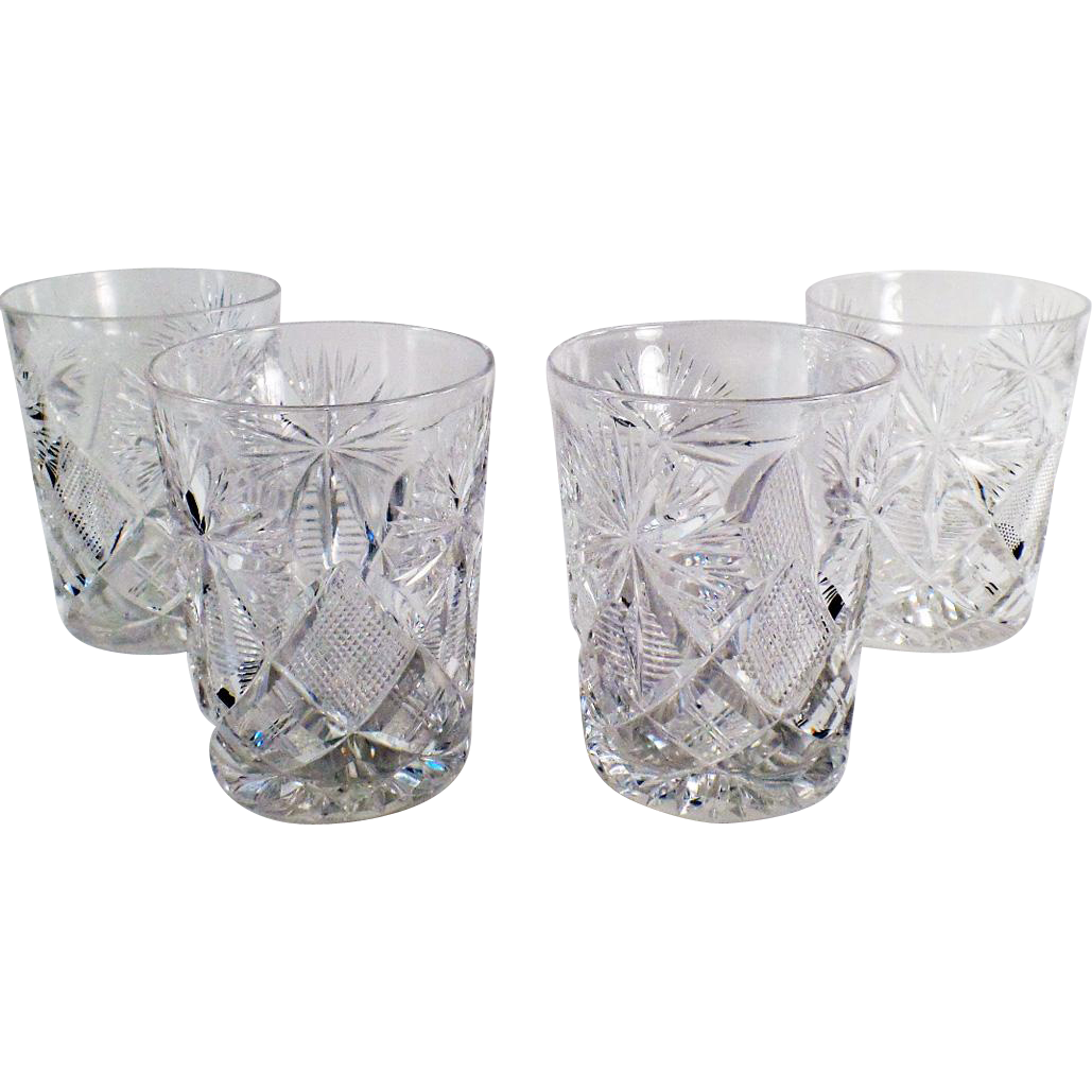 Vintage, Libbey, Cut Glass Highball Glasses - 6oz. - Set of 4