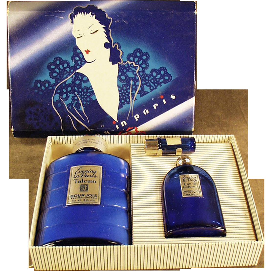 Vintage, Evening in Paris Boxed Set - Talc & Perfume Bottles