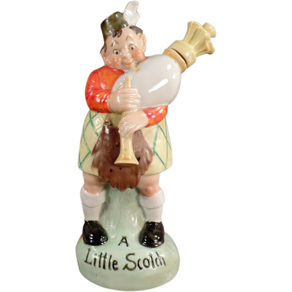 Vintage S & V Figural Flask - Scottish Bagpipe Player with Original Stopper