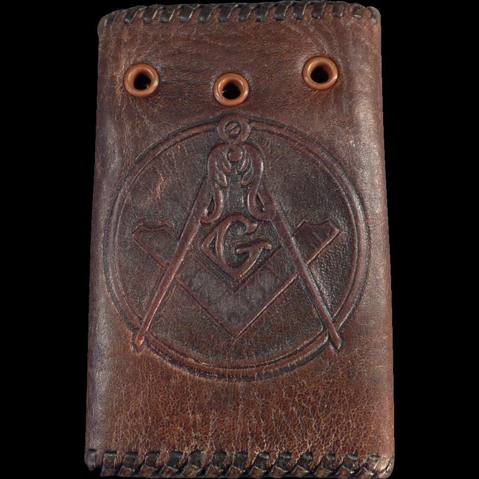 Vintage, Masonic, Leather Car Key Case