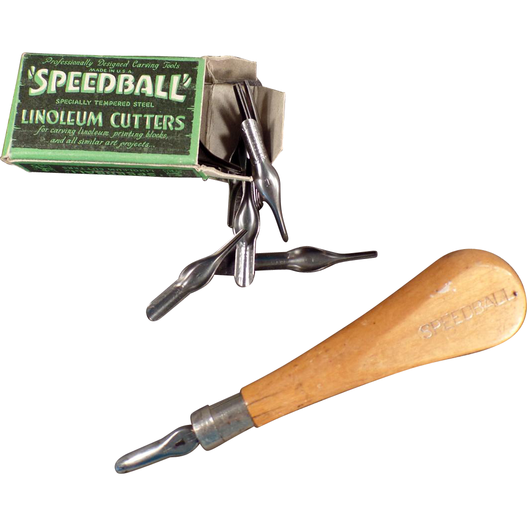 Vintage, Speedball Linoleum Cutters and Handle