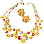 Vintage Choker Necklace & Earring Suite - Outstanding Summer Colors