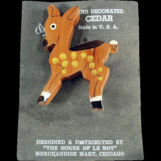 Vintage, Hand Painted Cedar Pin - Spotted Deer