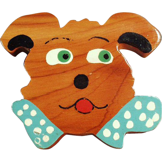 Vintage, Hand Painted Cedar Pin - Funny Dog Face