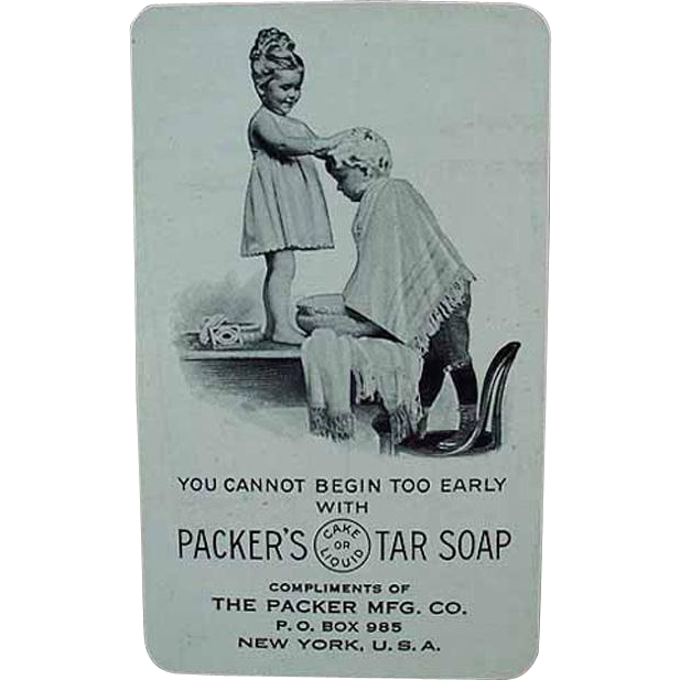 Vintage, Celluloid Calendar with Packer's Tar Soap Advertising- 1917 - Cute Graphics