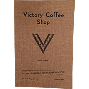 Vintage Menu - Victory Coffee Shop of Reno Nevada - WWII Memorabilia