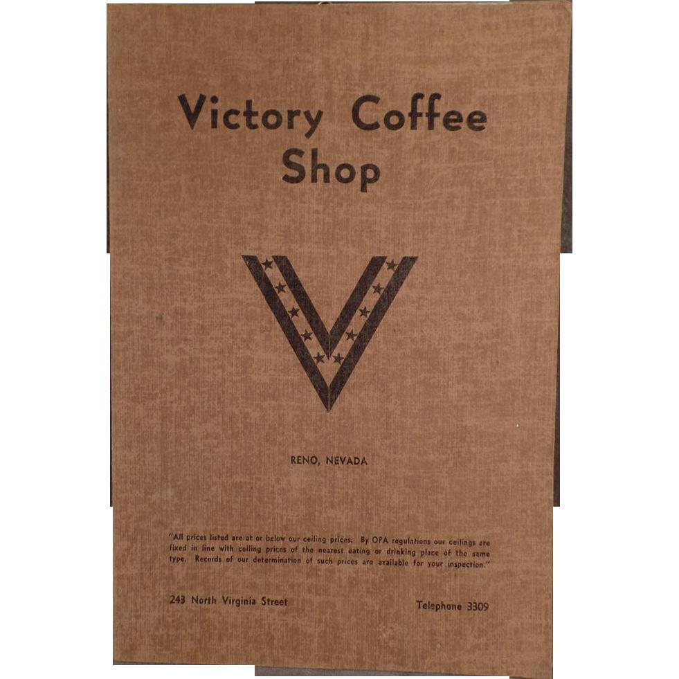 Vintage Menu - Victory Coffee Shop of Reno Nevada - WWII Memorabilia