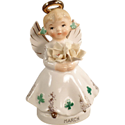 Vintage, March Birthday Angel with Shamrocks & Flowers