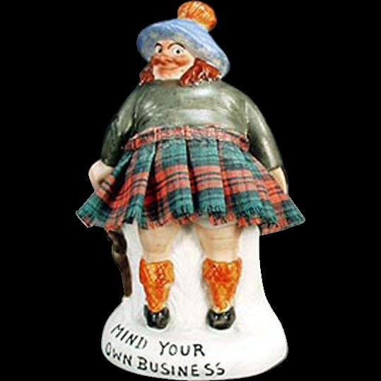 Vintage, Porcelain Whimsey - Mind Your Own Business Scotsman - S & V