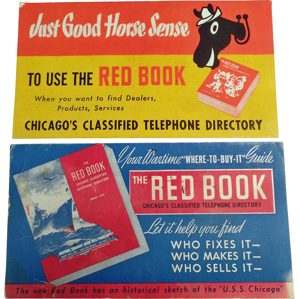 Vintage Ink Blotters Advertising the Chicago Red Book Phone Directory