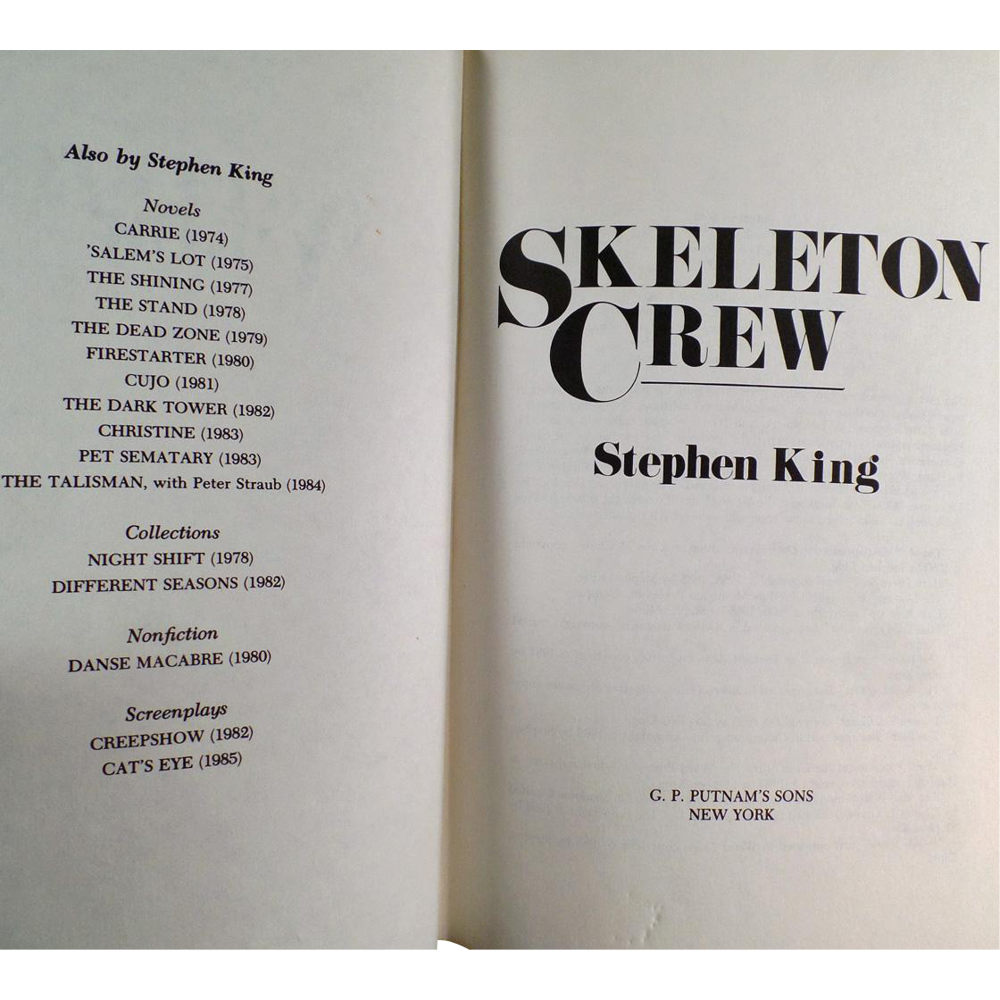 Old Book - Skeleton Crew by Stephen King - 1985 Hardbound