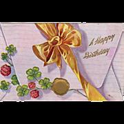 Vintage, Birthday Postcard - Envelope with Bow & Shamrocks