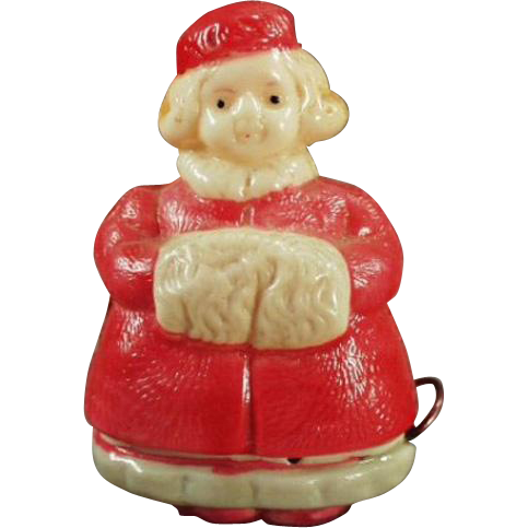 Vintage, Celluloid, Figural Tape Measure - Little Girl with Winter Muff