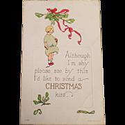 Vintage Christmas Postcard - Little Girl with Mistletoe