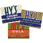 3, Vintage Soda Bottle Labels, Hy's - Three Different Designs