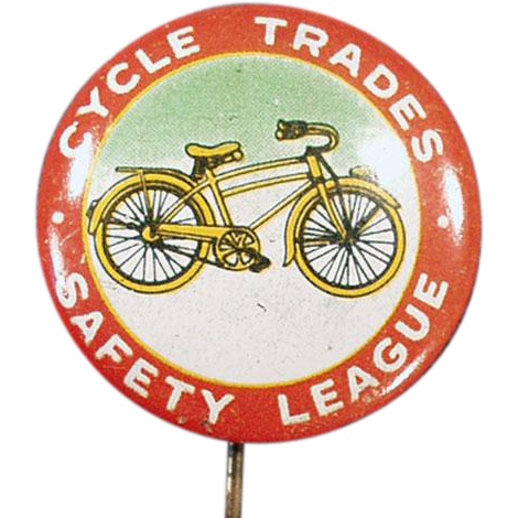 Vintage Advertising Pin Back Button - Bicycle Safety - Nice Graphics