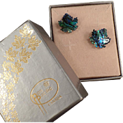 Vintage Stud Earrings - Abalone Maple Leaves