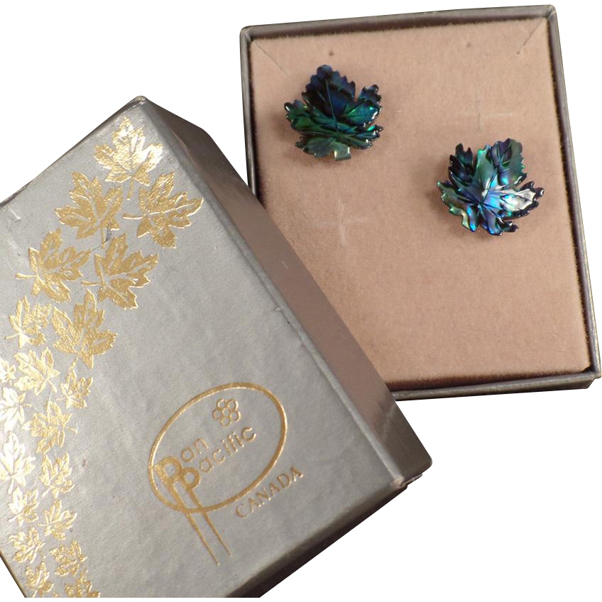 Vintage Stud Earrings - Abalone Maple Leaves