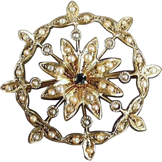 Vintage Brooch/Pendant - 14k Gold, Sapphire & Seed Pearls