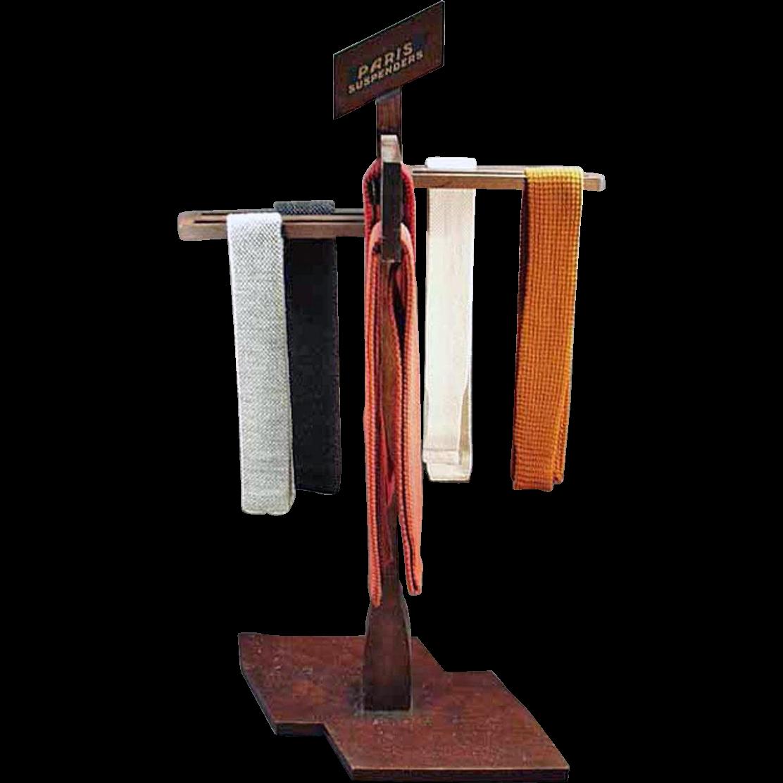Vintage, Paris Suspenders, Wood Display Rack