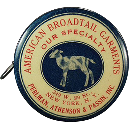 Vintage, Advertising Tape Measure, Celluloid -  American Broadtail