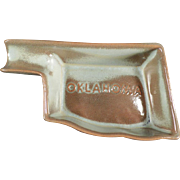 Vintage, Oklahoma Shaped, Frankoma Ashtray - Woodland Moss Glaze