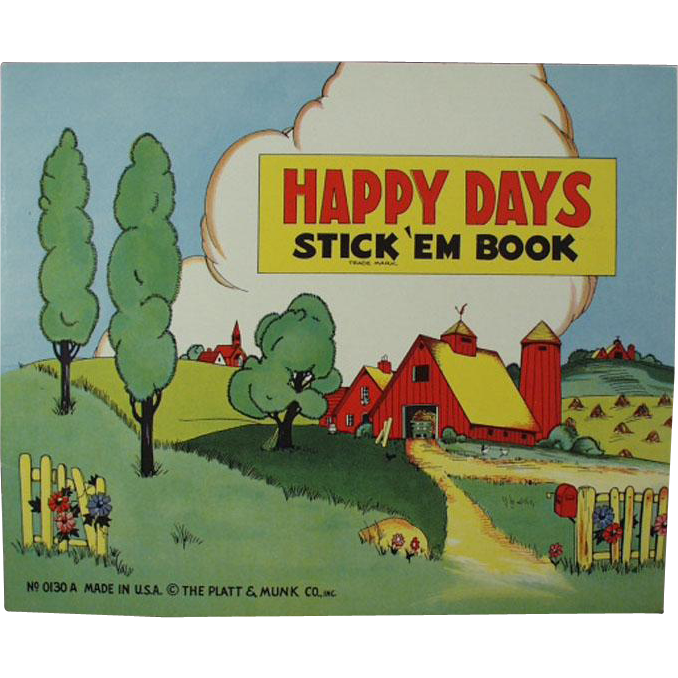 Child's Old Book of Stickers - Happy Days - Platt & Munk