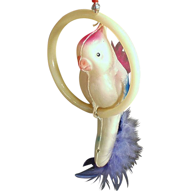 Vintage Celluloid Suction Toy - Bird on a Perch