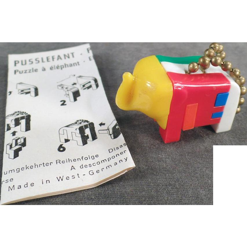 Vintage Puzzle Key Chain - Puzzlephant Elephant with Instructions
