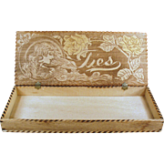 Vintage, Pyrography Tie Box - Wood Burned, Art Nouveau Design